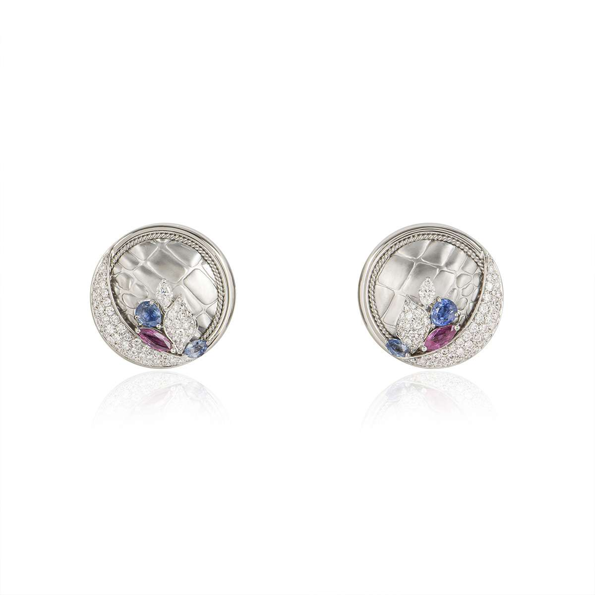 White Gold Diamond, Ruby and Sapphire Earrings